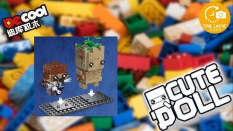 Decool CuteDoll Rocket & Groot Timelapse/Speedbuild (Lego Brickheadz Clone)